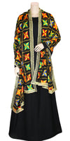 Buy designer Indian handmade punjabi phulkari embroidered dupattas, stoles & chunnis at the best rates in the USA & Canada. Black multi color Chiffon dupatta tissue silk lace border. Ethnic Indian traditional wedding party festival fashion suit wrap accessories handloom light elegant handwork design stylish shop online