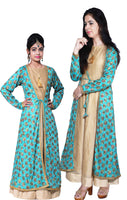 Shop designer Indian mother & daughter combo Anarkali fashion gowns & maxi dresses at the best rates in the USA & Canada. Beige cotton silk full length sleeveless dress blue chiffon full sleeves jacket Punjabi Phulkari sequins work Anarkali flared Ethnic  traditional wedding party handmade custom style buy Darpaha Sale