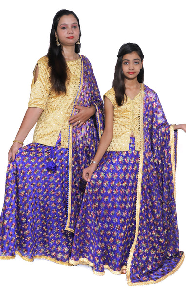 Buy designer mother & daughter combo Indian phulkari lehenga dresses at the best rates in the USA & Canada. Purple Punjabi Phulkari Umbrella cut skirt & dupatta with sequins & mirror work 3/4 sleeve golden short kurti flared Ethnic traditional wedding party  festival occasion ethnic bridesmaid shop online Darpaha Sale