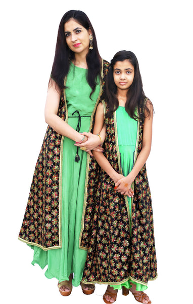Shop designer Indian mother & daughter combo Anarkali fashion gowns & maxi dresses with jackets at the best rates in the USA & Canada. Green Georgette full length Anaarkali dress black chiffon jacket Punjabi Phulkari sequins work sleeveless half sleeve  flared Ethnic traditional wedding party custom Darpaha Buy Sale