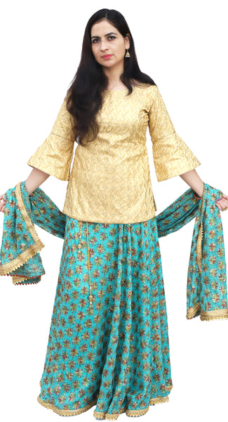 Turquoise & Golden Long Kurti Phulkari Lehenga Set