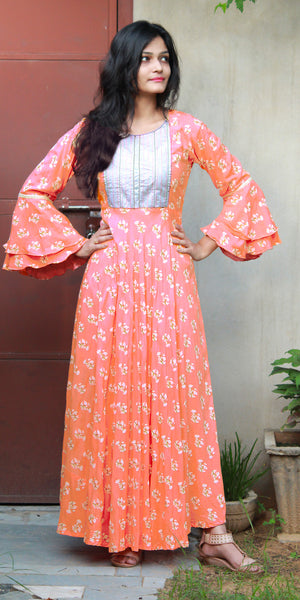 Peach Floral Print Dress With Bell Sleeves