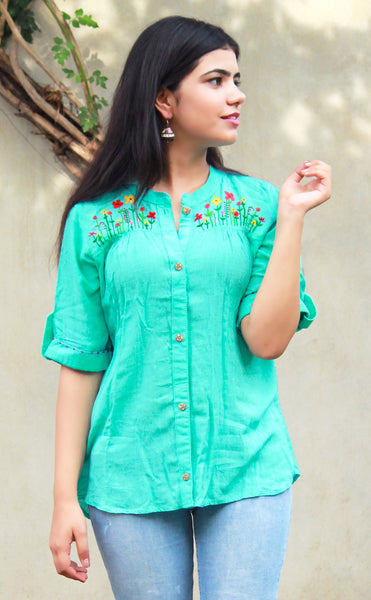 Sea Green/Teal Rayon Button-Up Blouse