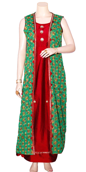 Shop designer Indian hand embroidered fashion gowns & maxi dresses with jackets at the best rates in the USA & Canada. Maroon Viscose silk full length Anarkari dress green chiffon jacket Punjabi Phulkari sequins work sleeveless Anarkali flared Ethnic  traditional wedding party handmade custom handloom Darpaha Buy Sale