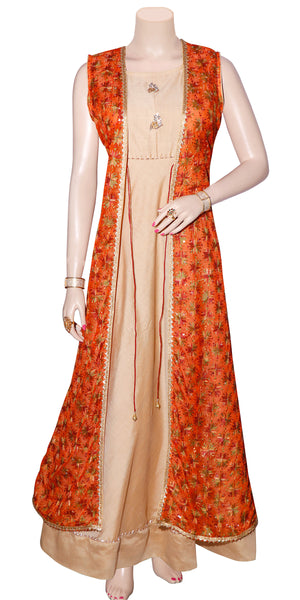 Shop designer Indian hand embroidered fashion gowns & maxi dresses with jackets at the best rates in the USA & Canada. Beige Cotton silk full length Anarkari dress orange chiffon jacket Punjabi Phulkari sequins work sleeveless Anarkali flared Ethnic  traditional wedding party handmade custom handloom Darpaha Buy Sale