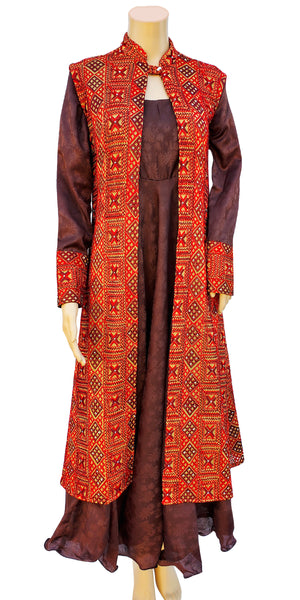 Shop designer Indian hand embroidered fashion gowns & maxi dresses with jackets at the best rates in the USA & Canada. Blue brown cotton silk full length full sleeves dress maroon cotton sleeveless jacket Punjabi Phulkari sequins work Anarkali flared Ethnic  traditional wedding party handmade custom style Darpaha  Sale