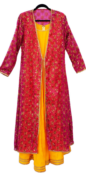 Shop designer Indian hand embroidered fashion gowns & maxi dresses with jackets at the best rates in the USA & Canada. Yellow cotton silk full length sleeveless dress hot pink chiffon full sleeves jacket Punjabi Phulkari sequins work Anarkali flared Ethnic  traditional wedding party handmade custom style Darpaha  Sale
