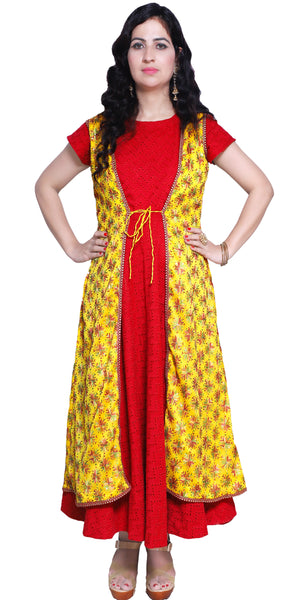 Shop designer Indian hand embroidered fashion gowns & maxi dresses with jackets at the best rates in the USA & Canada. Red Chikankari Cotton full length Anarkari dress yellow chiffon jacket Punjabi Phulkari sequins work sleeveless half sleeve handmade flared Ethnic traditional wedding party handmade custom Darpaha Buy Sale
