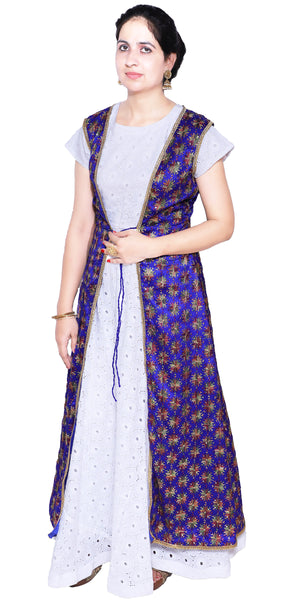 Shop designer Indian hand embroidered fashion gowns & maxi dresses with jackets at the best rates in the USA & Canada. White Chikankari Cotton full length Anarkari dress purple chiffon jacket Punjabi Phulkari sequins work sleeveless half sleeve handmade flared Ethnic traditional wedding party handmade custom Darpaha Buy Sale