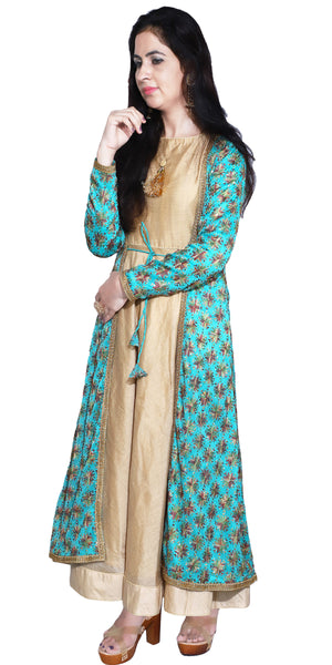 Shop designer Indian hand embroidered fashion gowns & maxi dresses with jackets at the best rates in the USA & Canada. Beige cotton silk full length sleeveless dress blue chiffon full sleeves jacket Punjabi Phulkari sequins work Anarkali flared Ethnic  traditional wedding party handmade custom style buy Darpaha Sale