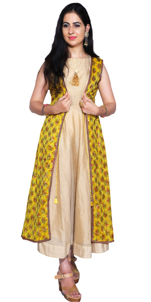 Shop designer Indian hand embroidered fashion gowns & maxi dresses with jackets at the best rates in the USA & Canada. Beige golden cotton silk full length sleeveless dress yellow chiffon jacket Punjabi Phulkari sequins work Anarkali flared Ethnic handmade buy traditional wedding party handmade custom style Darpaha Sale
