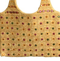 Mustard Color Cotton Fabric Mirror work & embroidery Handbag/Purse