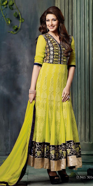 Yellow & Golden Bollywood Anaarkali Georgette Suit