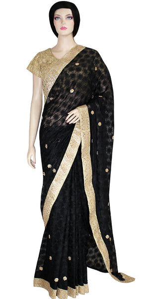 Buy stunning designer Indian phulkari Sarees/Saris at the best rates in the USA & Canada. Black Punjabi embroidery golden Zari gota border floral sequins petticoat fall matching ethnic wedding party festival fashion evening occasion outfit dress festival function stylish unique bridesmaid shop online Darpaha Sale