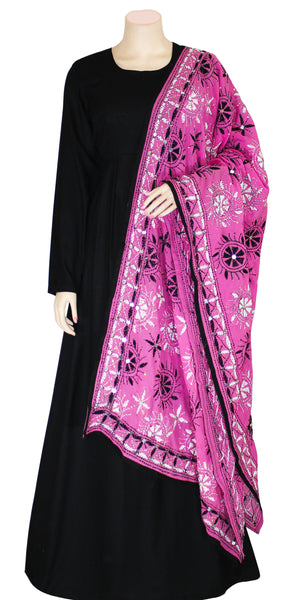 Light Pink Color Handmade Phulkari Chiffon Dupatta
