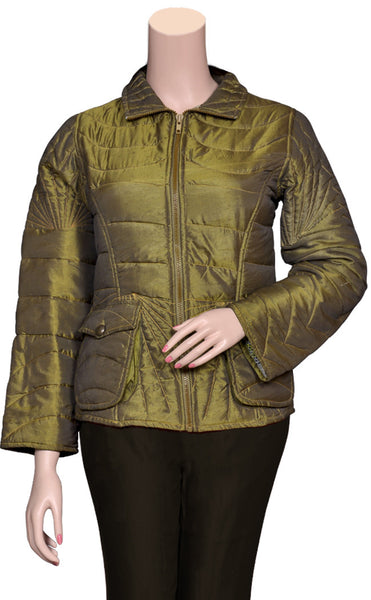Pure Cotton filled Quilted Olive Green color stylish Jackets UQJ15601