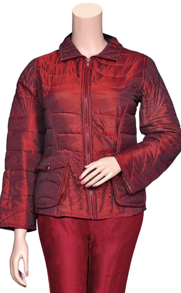 Shop warm winter jackets at the best rates in the USA & Canada. Maroon pure cotton filling jacket polyester fabric pockets zipper comfortable collar full sleeves shiny  BOHO stylish chic modern fitted floral colorful lining insulated Dark Red  Darpaha buy sale