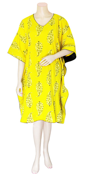 Yellow-green color half Sleeve Kaftan Dress