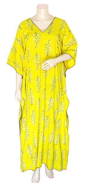 Yellow-green color half Sleeve Long Kaftan Dress