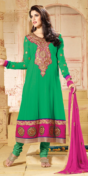 Green & Pink Georgette Anaarkali Suit