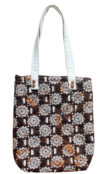 Brown Cotton long handles Tote Bag