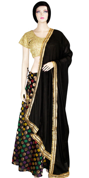 Shop online for designer Indian Banarasi Lehenga dresses at the best rates in USA & Canada. Black Art Jacquard Silk flared skirt zari motif embroidery drawstring closure golden Silk choli top black chinnon dupatta ethnic golden lace/hem borders traditional dresses for festivals weddings multicolor handmade Sale Darpaha
