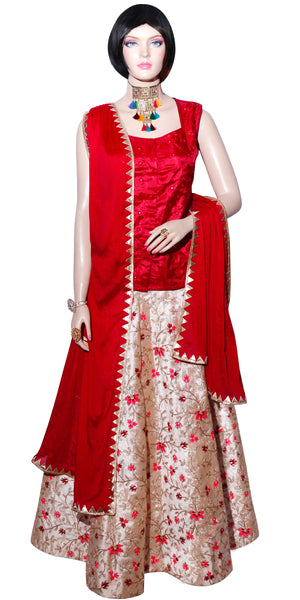 Red & Cream Floral Banarasi Designer Lehenga Set