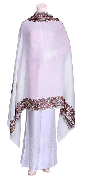 Woolen Embroidered off white color Dupatta-Shawl-Scarf-Hijab
