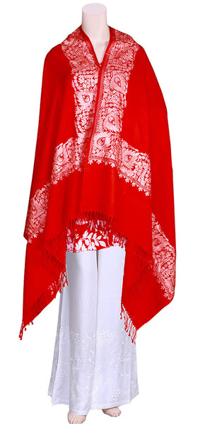 Woolen Embroidered Red color Dupatta-Shawl-Scarf-Hijab