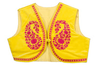 Shop designer Indian hand embroidered jackets at the best rates in the USA & Canada. Yellow Velvet Cotton Sleeveless jacket top pink floral embroidery front open short shrug borders ethnic traditional wedding party wear handmade bright punjabi  patiala jacket lohri jaago festival fashion BOHO stylish Darpaha buy sale