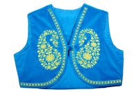Shop designer Indian hand embroidered jackets at the best rates in the USA & Canada. Blue Velvet Cotton Sleeveless jacket top yellow floral embroidery front open short shrug borders ethnic traditional wedding party wear handmade bright punjabi  patiala jacket lohri jaago festival fashion BOHO stylish Darpaha buy sale