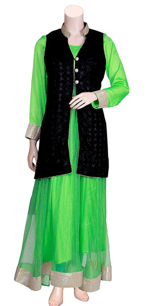 Shop designer Indian  fashion gowns & maxi dresses with hand embroidered jackets at the best rates in the USA & Canada. Green net full sleeve dress black Punjabi Phulkari sleeveless jacket gotta patti border golden lace Anarkali flared Ethnic traditional wedding party handmade custom flowy pure cotton silk Darpaha Sale