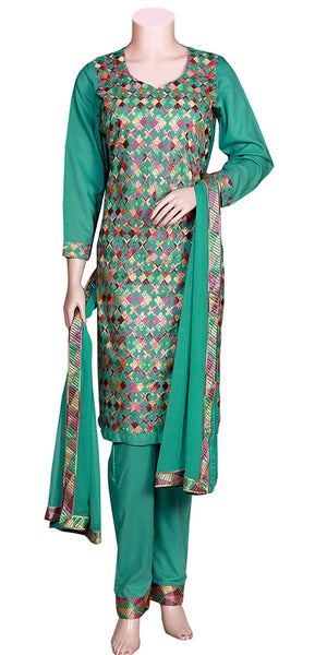 Buy designer Indian pure cotton phulkari palazzo suits at the best rates in the USA & Canada. Sea green cotton Kurti multicolor Punjabi Phulkari embroidery & chiffon dupatta full sleeves borders. Ethnic traditional casual elegant wedding party handmade shiny fashion lohri jaago festival occasion stylish Darpaha Sale