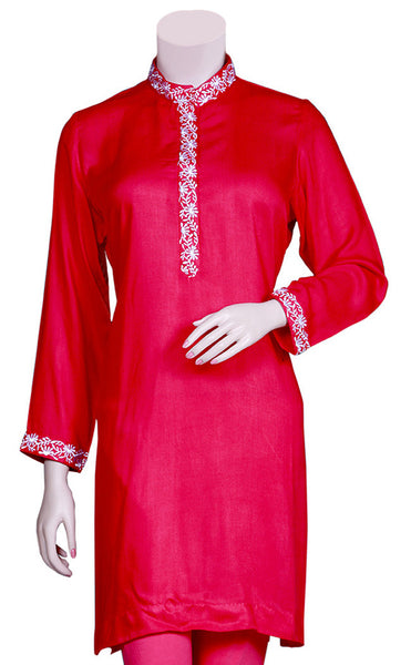 Beautiful White Color Embroidery on Rayon Pink Color Kurti/Tunic