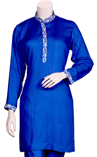 Neck & Wrist Embroidered Blue Kurti/Tunic