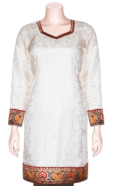 Jacquard Art-Silk off-white color Kurti/Tunic/Kameez with Banarasi borders