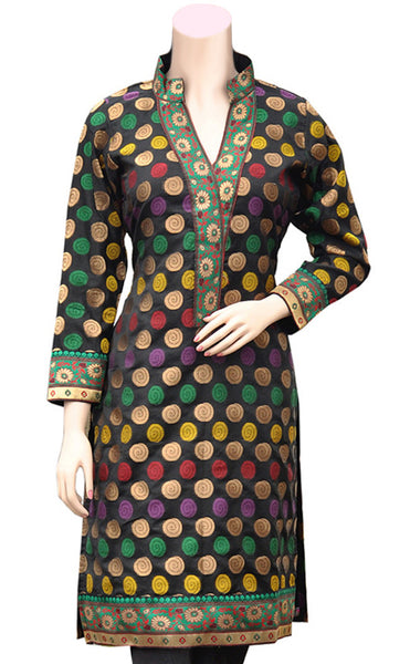 Zari & multicolor silky thread Jacquard Banarasi Silk black Kurti/Tunic