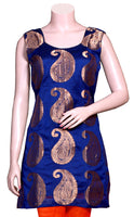 Buy designer Indian silky palazzo suit dresses at the best rates in the USA & Canada. Blue & Orange Banarasi art silk Kurti &  jacquard silk palazzos. Sleeveless paisley print multicolor border Ethnic traditional wedding party handmade shiny fashion casual wide BOHO festival occasion party wear stylish Darpaha Sale