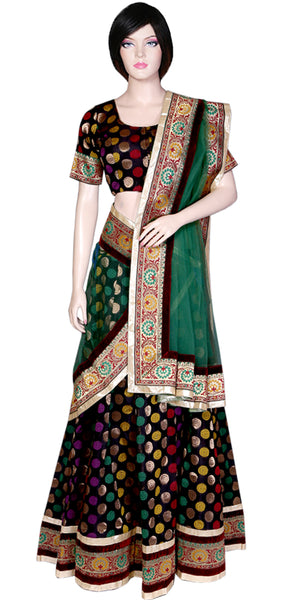 Shop online for designer Indian Banarasi Lehenga dresses at the best rates in USA & Canada. Black Art Jacquard Silk flared skirt zari motif embroidery half sleeve choli top green net dupatta gota lace borders ethnic traditional dresses for festivals weddings party wear custom pieces multi color handmade Sale Darpaha