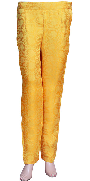Jacquard Silk Golden Yellow/mustard Color Ladies Cigarette Pants/skinny trousers