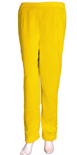 Yellow Velvet Ladies Cigarette/Skinny Pants/Trousers MDP159013