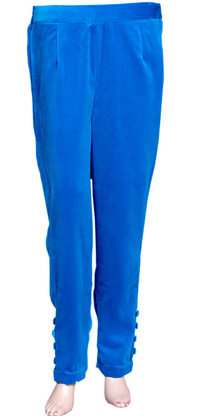 Royal Blue Velvet Cigarette Pants