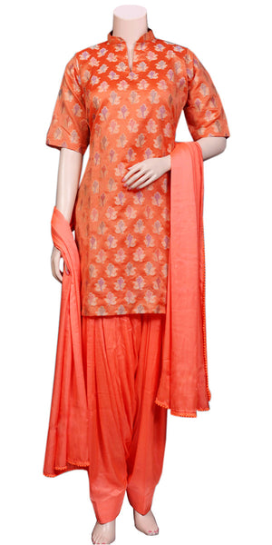 Orange-red Banarasi Art Silk & Soft Viscose/Satin Patiala Salwar Suit/Punjabi dress