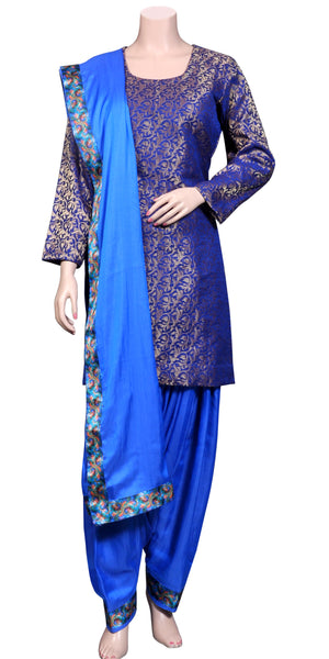 Buy designer patiala salwar & kameez suits at the best rates in the USA & Canada. Royal Blue Banarasi Jacquard Silk kurti & Viscose silk salwar & dupatta lace border short full sleeves Ethnic Indian traditional wedding party festival panjabi outfit lohri jaago shop online fashion stylish Darpaha Sale