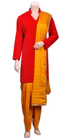 Orange Viscose Silk Salwar and Dupatta with Red Cotton Velvet Kameez, party-wear punjabi dress