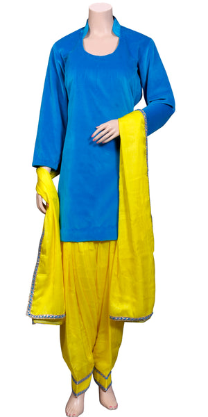 Yellow Viscose Silk Salwar and Dupatta with Royal Blue Cotton Velvet Kameez, party-wear punjabi dress