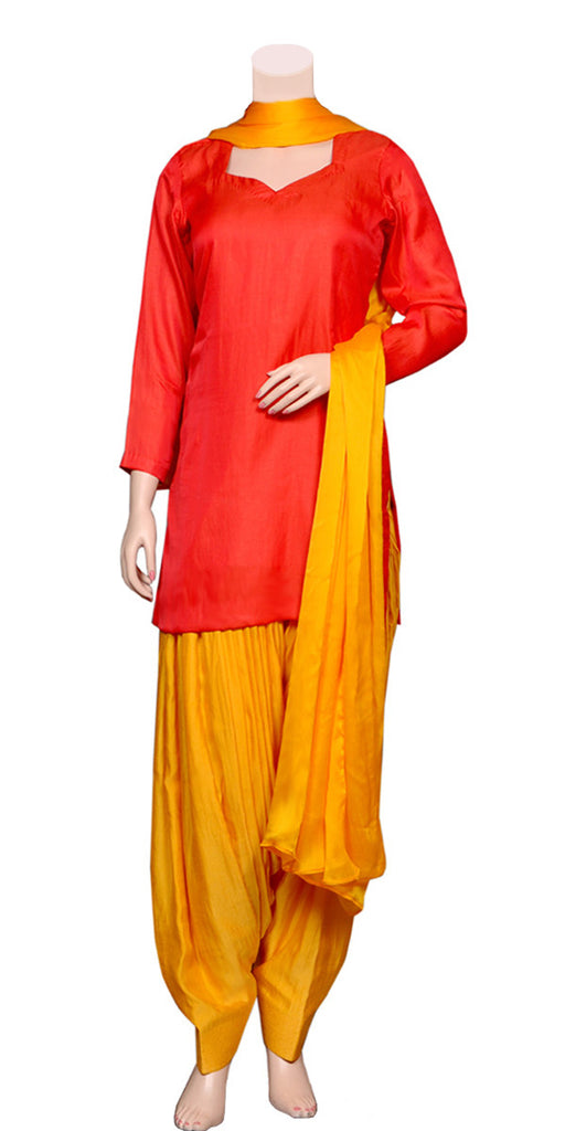 1f09606e9b617b Orange   Red Color Viscose-silk Semi Patiala Salwar Suit Punjabi ...