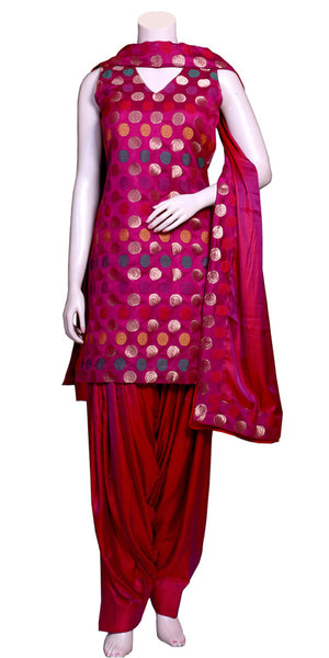 Purple color Handloom Banarasi & Viscose/satin silk Patiala Salwar Suit