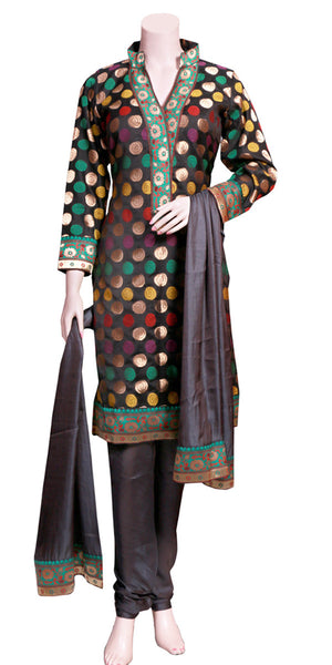 Black Banarasi Silk Churidar Suit