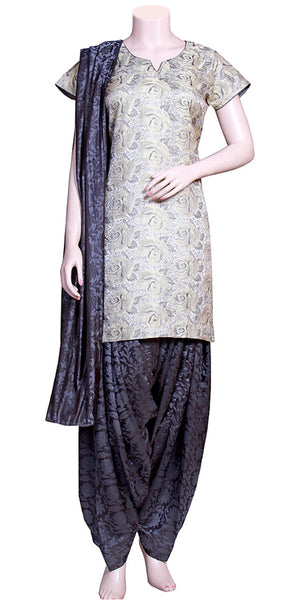 Black & Gray Color, Banarasi Brocade & Jacquard Satin silk, Punjabi dress, Patiala Salwar Suit